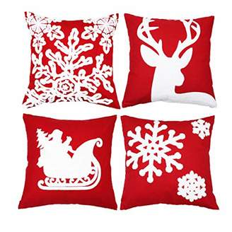 sykting Embroidery Throw Pillow Case 18x18 Christmas Pillow Cover Set of 4 Cushion Covers Home Car Decorative (Christmas Tree