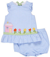 Florence Eiseman Sleeveless Gingham Seersucker Dress w/ Bloomers, Blue, Size 3-24 Months