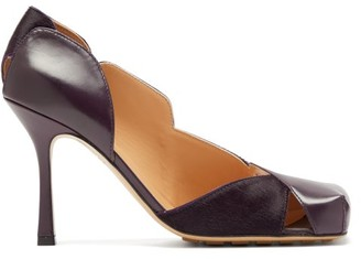 Bottega Veneta Square-toe Leather And Calf-hair Pumps - Womens - Burgundy