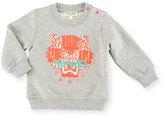 Kenzo Love Logo Pullover Sweatshirt, Gray/Pink, Size 6M-3