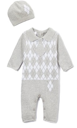 Baby Mode Boys' Rompers GREY - Gray & White Argyle Romper & Beanie - Newborn & Infant