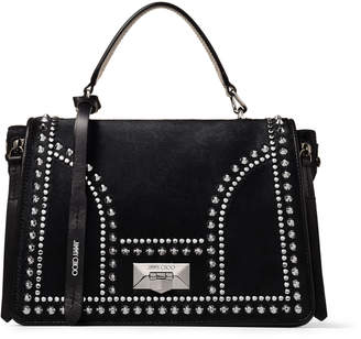 Jimmy Choo HELIA TOP HANDLE Black Pony Skin Top Handle Bag with Stud Mix and Detachable Strap