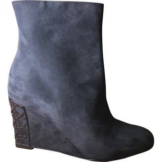 Christian Dior Blue Suede Ankle boots