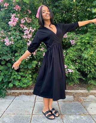 ASOS DESIGN midi smock dress with wrap top in black