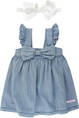 RuffleButts Bow Flutter Sleeve Dress & Bow Head Wrap Set