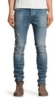 AllSaints Dak Cigarette Slim Fit Jeans in Indigo Blue