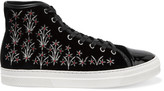 Mother of Pearl Leather-trimmed embroidered velvet sneakers