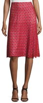 St. John Guipure-Lace A-Line Skirt, Hibiscus/Multi