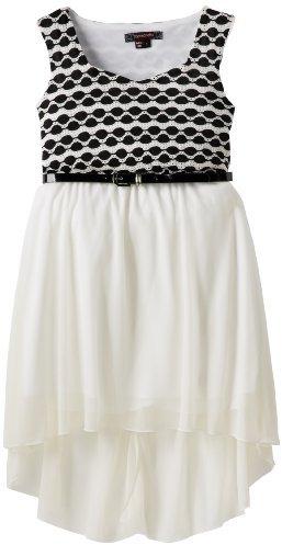 My Michelle Girls 7-16 Knit-to-Chiffon High-Low Dress