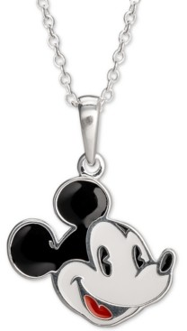 """Disney Children's Enamel Mickey Mouse 16"""" Pendant Necklace in Sterling Silver"""