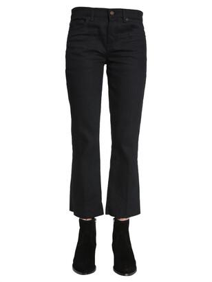 Saint Laurent Cropped Raw Hem Jeans