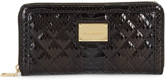 Love Moschino Portaf Snakeskin-Embossed Quilted Faux Leather Zip-Around Wallet