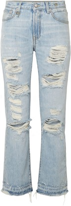 R 13 Bowie Distressed Mid-rise Straight-leg Jeans