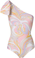Emilio Pucci printed one-shoulder swimsuit