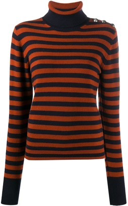 Chloé Striped Roll-Neck Cashmere Jumper
