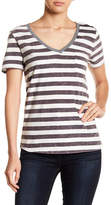 Socialite Striped V-Neck Pocket Tee
