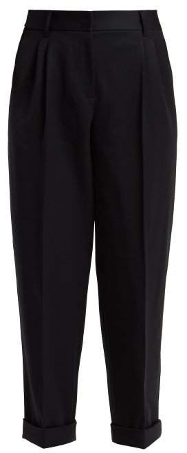Dolce & Gabbana Straight Leg Wool Cropped Trousers - Womens - Navy
