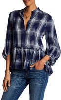 Max Studio Ruffle Plaid Peasant Blouse