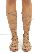 West Coast Wardrobe Rita Suede Gladiator Sandals in Beige