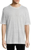 ATM Anthony Thomas Melillo Striped Linen Relaxed-Fit T-Shirt, Black/White