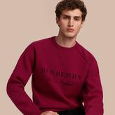 Burberry Topstitch Detail Wool Cashmere Blend Sweatshirt
