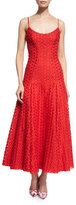 Monique Lhuillier Sleeveless Dotted Lace Midi Dress
