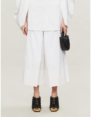 Rosetta Getty High-rise pleated cotton culottes