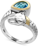 Effy Blue Topaz (1-1/10 ct. t.w.) Panther Bypass Ring in Sterling Silver and 18k Gold