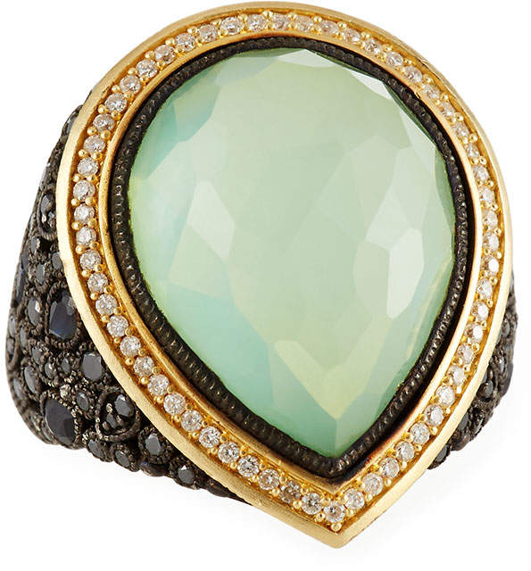 Armenta Doublet Pear Cluster Ring w/ 18k Gold, Size 7
