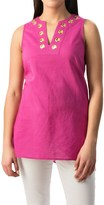 August Silk Grommet Tunic Shirt - Linen-Cotton, Sleeveless (For Women)