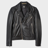 Paul Smith Men's Black Leather Asymmetric-Zip Biker Jacket
