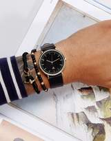 Asos Watch And Bracelet Set In Faux Leather With Anchor Design