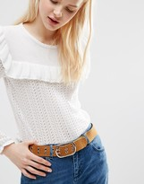 Asos Eyelet Double Prong Suede Jeans Belt