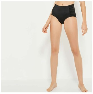 Joe Fresh Women's High Waist Swim Briefs, Black (Size XL)