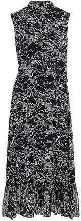 Derek Lam 10 Crosby Layered Printed Chiffon Midi Dress