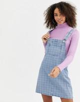 Urban Bliss denim pinafore dress in grid print
