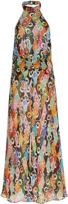 Rixo Kendra Halterneck Printed Chiffon Maxi Dress