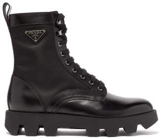 Prada Exaggerated Tread-sole Leather Ankle Boots - Mens - Black