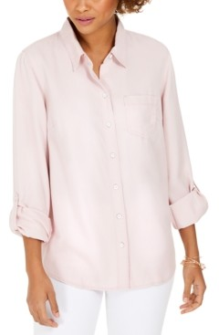Style&Co. Style & Co Petite Cuffed-Sleeve Blouse, Created for Macy's