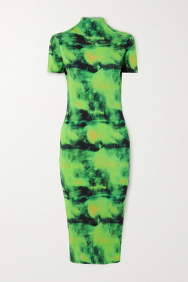 Versace Embroidered Tie-dyed Ribbed Silk-jersey Midi Dress - Green