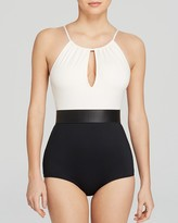 Carmen Marc Valvo Classic Dimension High Neck Pleated Maillot One Piece Swimsuit