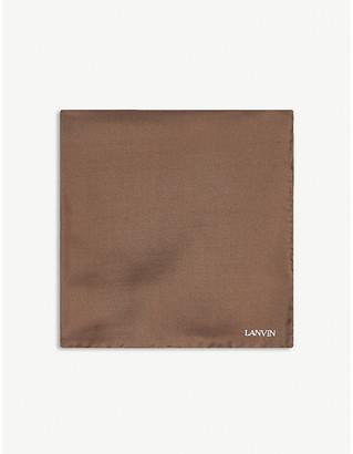 Lanvin Logo-embroidered silk pocket square