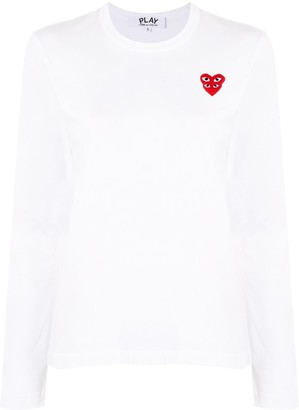 Comme des Garcons Heart Motif Long Sleeve Top