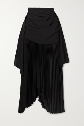 A.W.A.K.E. Mode Asymmetric Draped Pleated Chiffon And Crepe Midi Skirt - Black