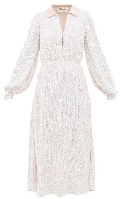 Temperley London Constellation Crystal Satin Shirt Dress - Womens - Light Pink