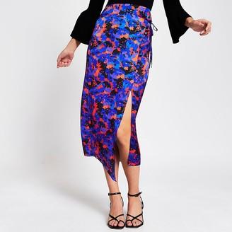 River Island Purple floral wrap tie midi skirt