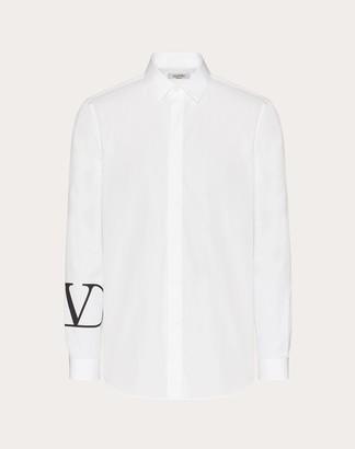 Valentino Shirt With Vlogo Cuff Print Man White/ Black Cotton 100% 37