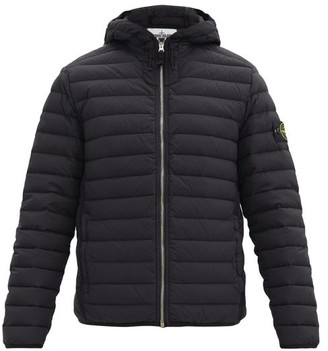Stone Island Logo-patch Quilted Down Hooded Coat - Black