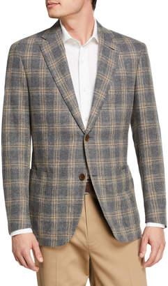 Caruso Men's Glen Check Wool-Blend Blazer, Gray