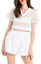 KENDALL + KYLIE Boxy Mesh Crop Top